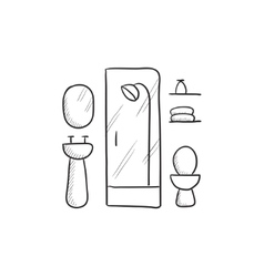 Bathroom sketch icon vector image vector image