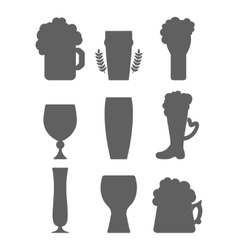 Beer glass silhouette vector image