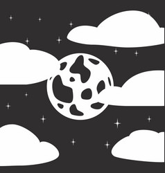 Black and white style icon of full moon stars vector