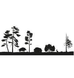 black silhouette of forest trees vector image vector image