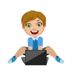 Boy playing video games on lap top part of kids vector