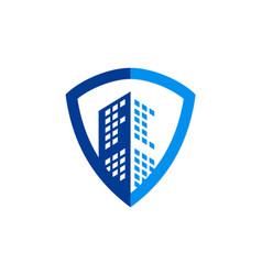 Building cityscape shield secure business logo vector