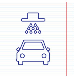 Car wash sign navy line icon on notebook vector