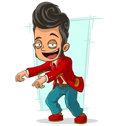 Cartoon stylish dancer in red jacket vector image