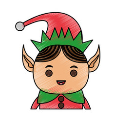 Color pencil cartoon half body christmas elf with vector