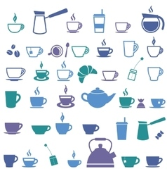 Colorful offee cup and tea cup icons vector