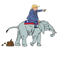 Donald Trump Riding Republican Elephant Caricature vector image vector image
