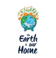 Earth globe cartoon card vector