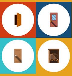Flat icon door set of entry door saloon and vector