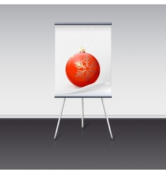 Flipchart with a Christmas ball on it vector image vector image
