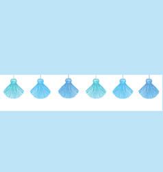 Fun blue decorative tassels set horizontal vector