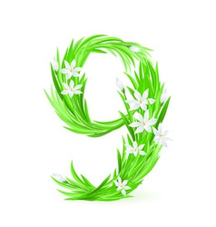 grass letters number 9 vector image vector image