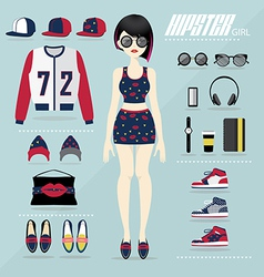 Hipster girl set vector image