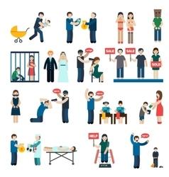 Human trafficking flat icons set vector