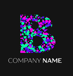 Letter b logo with pink purple green particles vector