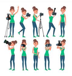 Photographer woman hotographer making vector
