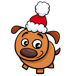 Puppy on christmas time cartoon vector