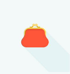 red purse icon with long shadow vector image vector image