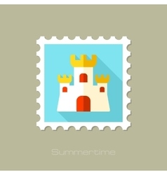 Sand castle flat stamp with long shadow vector