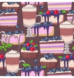 Seamless coffee and cakes vector image