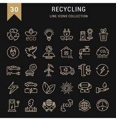 Set flat line icons recycling vector