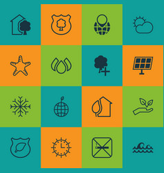 Set of 16 ecology icons includes pin earth vector
