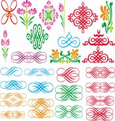 set of border and pattern vector image vector image