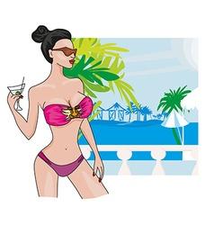 Sexy beach girl vector