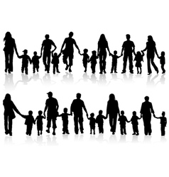 silhouettes of parents with children vector image vector image
