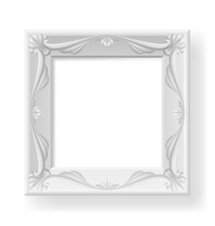 Silver picture frame on white for design vector