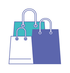Trapezoid shopping bag set with handle in blue and vector