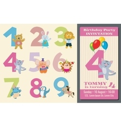 Kids birthday anniversary numbers with cartoon vector image