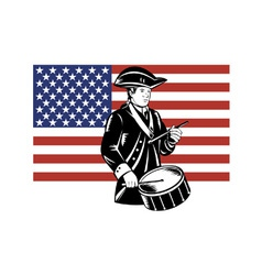 American patriot drummer stars and stripes flag vector