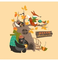 Funny animals on the autumn tree vector image