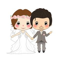 Bride and groom wedding dress vector