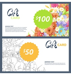 Gift cards with flowers vector