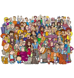 Cartoon people in the crowd vector