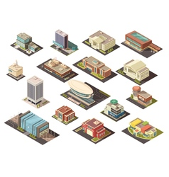 Government building isometric set vector
