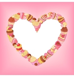 Desserts heart frame on pink background st vector