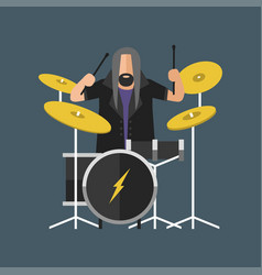 cartoon musician play on sound modern drum and vector image