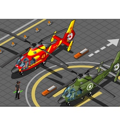 Isometric emergency and military helicopters in vector