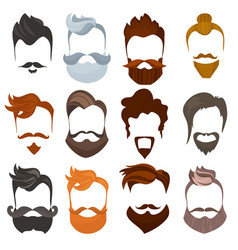 Set of men cartoon hairstyles with beards and vector