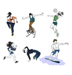 Six teenagers silhouettes vector