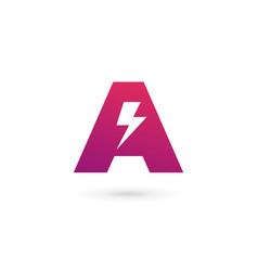 Letter a lightning logo icon design template vector