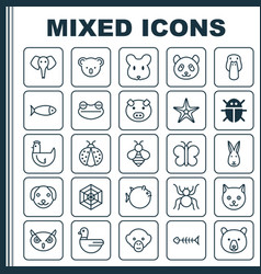 zoology icons set collection of duck bear rat vector image