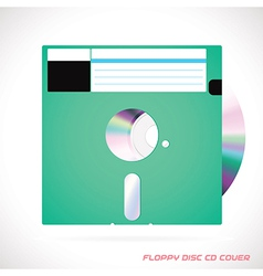 Old fashion floppy disc with compact disc vector