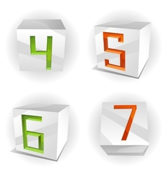 cube alphabet numbers 4567 vector image