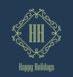 Happy holidays festive card monograms style vector