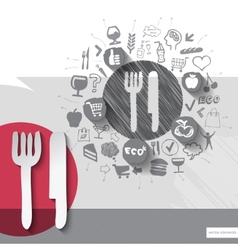 Hand drawn cutlery icons with food icons vector