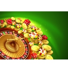 Casino background with chips craps and roulette vector image